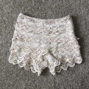 Pants - High Waisted Crocheted Lace Shorts